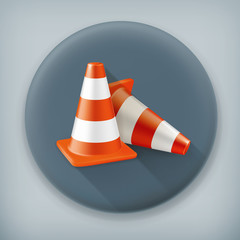 Traffic cone, long shadow vector icon