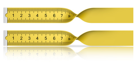 Yellow measuring tape with reflection