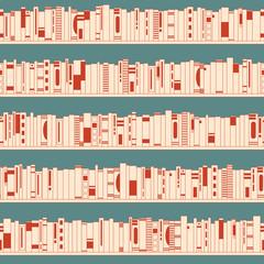 Bookshelf. Seamless pattern.