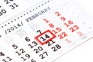 Sheet of wall calendar with red mark on 14 February