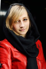 Muslim fashionable girl with leather jacket