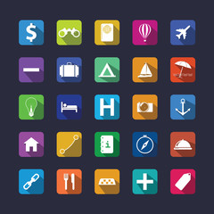 Flat travel icon set with shadow