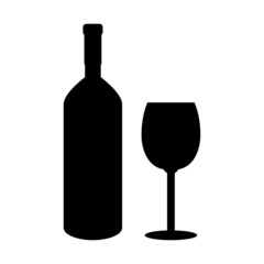 Bottle of wine and glass icon