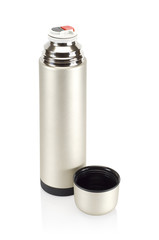 Grained pattern steel thermos, isolated on white background