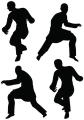 Karate martial art silhouettes of men in prowl poses