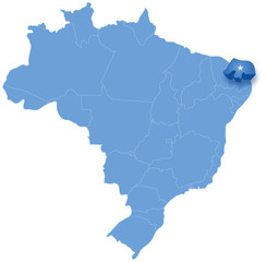 Map of Brazil where Rio Grande do Norte is pulled out
