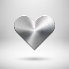 Fototapete - Abstract Heart Sign with Metal Texture