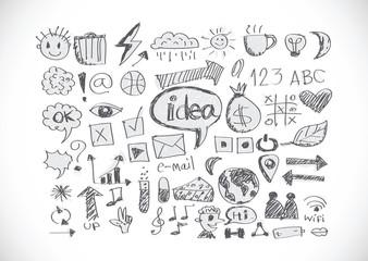 hand doodle Business icon idea