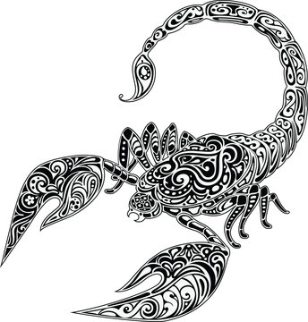 Scorpio, black & white