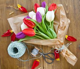 Bunter Blumenstrauss aus Tulpen
