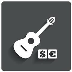 Paid music icon. Acoustic guitar music symbol.