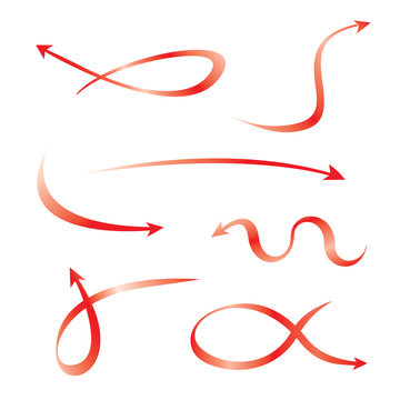 set of red curved arrows