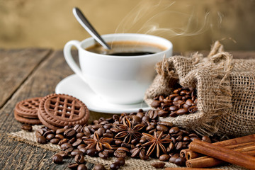 Wall Murals Coffee beans Black coffee, a cup of beans
