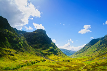 Glencoe mountain landscape in Lochaber, Scottish Higlands, Scotl