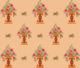 Vase pink flowers seamless (wallpaper)