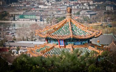 Fotobehang Beijing Jifang Pavilion in Jingshan Park, Beijing, China