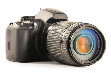 Single-lens reflex camera isolated on white