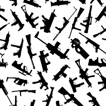 Weapons silhouettes on white. Seamless pattern. Vector EPS10.