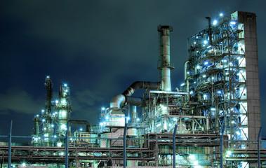 Keuken foto achterwand Industrial geb. Petrochemical plant at night