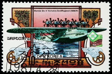DPR Korea - Circa 1981: postage stamp shows hydroplane Do X, cir