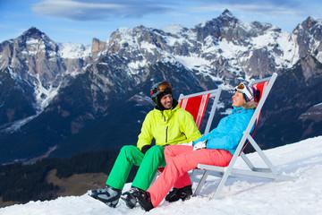 Ski vacation - resting skier.