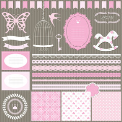 Cute scrapbook design elements for girl.