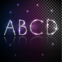 Shiny diamond transparent alphabet letters set