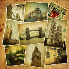 Vintage travel background with old photos of London.