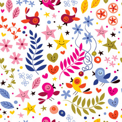 birds, flowers, stars and hearts pattern