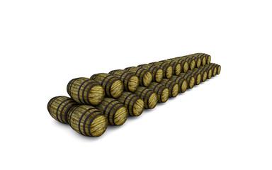 barili di legno stesi in fila