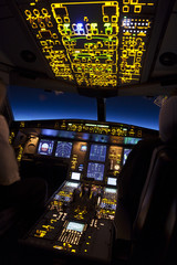 Cockpit of aircraft in a night flight