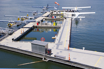 Seaplanes in harbour Vancouver, Canada