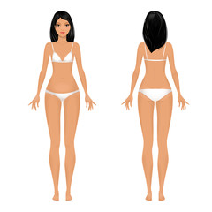 Female body template front and back.