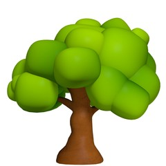 3d illustration of a cartoon tree