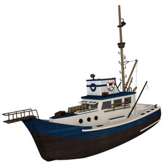 3d illustration of a fishing boat