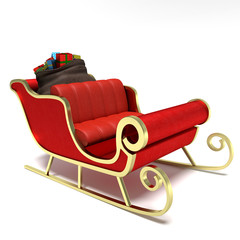 3d illustration of Santa's sleigh