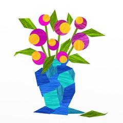 vaso blu con fiori rosa