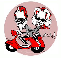 scooter and couple