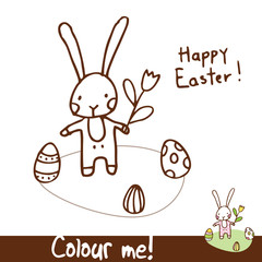 easter bunny - colour me for kids cute design element