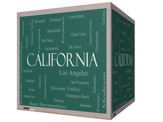 California State Word Cloud Concept on a 3D cube Blackboard