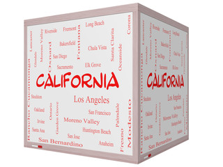 California State Word Cloud Concept on a 3D cube Whiteboard
