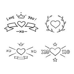 Set of handdrawn design elements