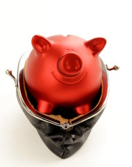 funny red Pig Piggy with old fashioned purse