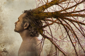 Freedom concept,man with tree branches coming out of his head, i