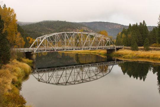 Bridge over water in autumn.