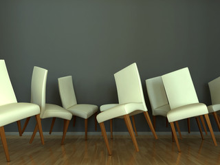 Abstract interior scene with dancing chairs