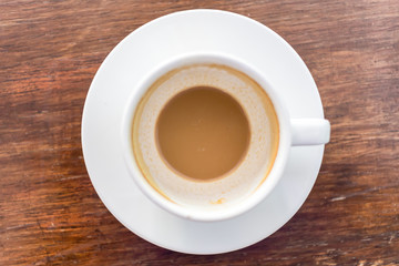 coffee cup on wooden table, after drink