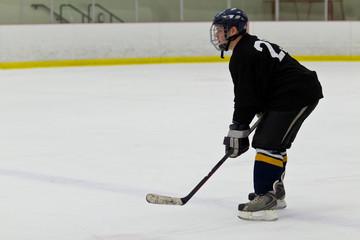 Hockey player patrolling the blue line