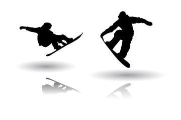 Snowboarding silhouette vectors