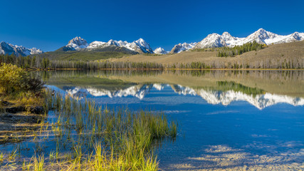 Idaho moutnains and lake reflection fall